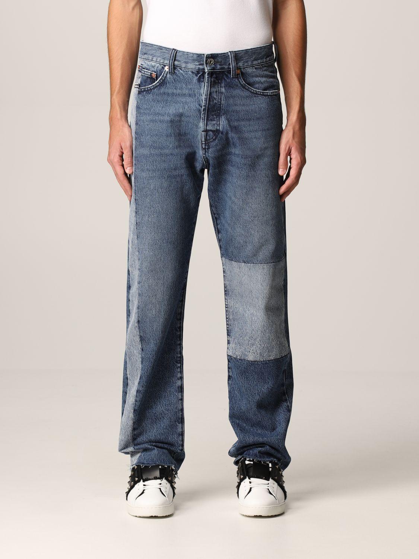 Jeans Valentino: Jeans Valentino a 5 tasche in denim patchwork blue navy 1