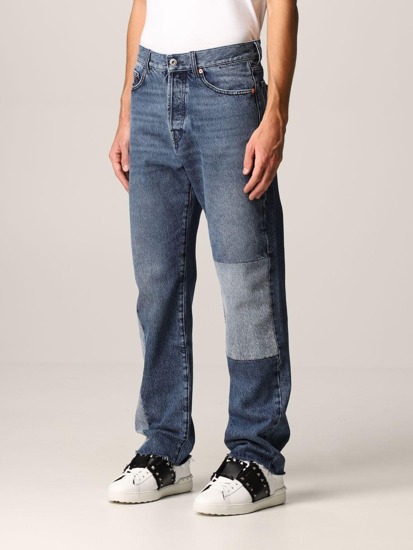 Jeans Valentino: Jeans Valentino a 5 tasche in denim patchwork blue navy 4