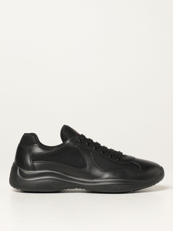 Sneakers Prada: Sneakers Prada in pelle di vitello e rete nero 1