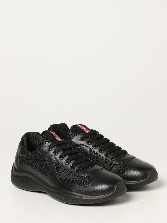 Sneakers Prada: Sneakers Prada in pelle di vitello e rete nero 2