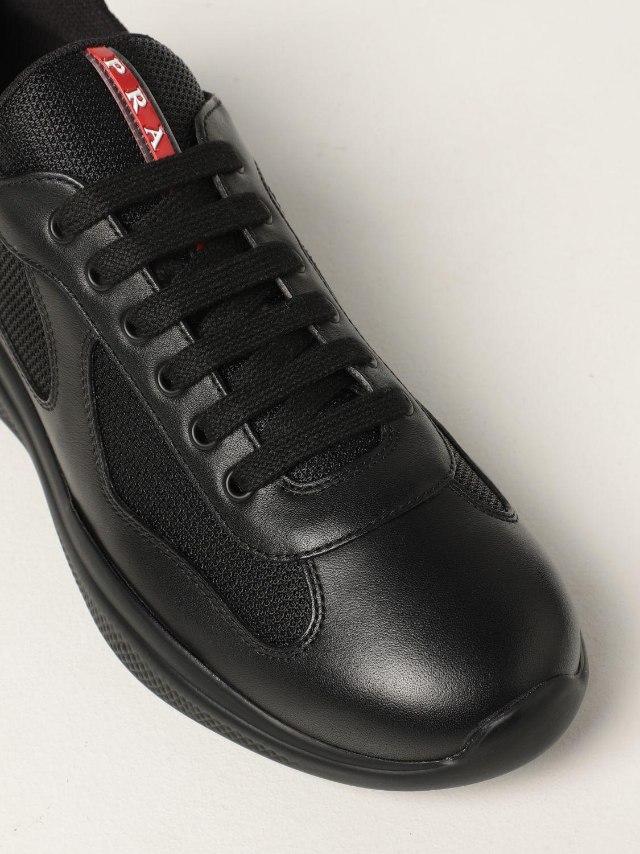 Sneakers Prada: Sneakers Prada in pelle di vitello e rete nero 4
