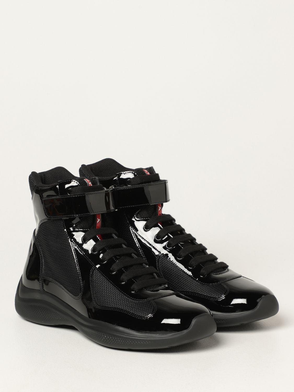 Sneakers Prada: Sneakers Prada in vernice e tessuto bike nero 2