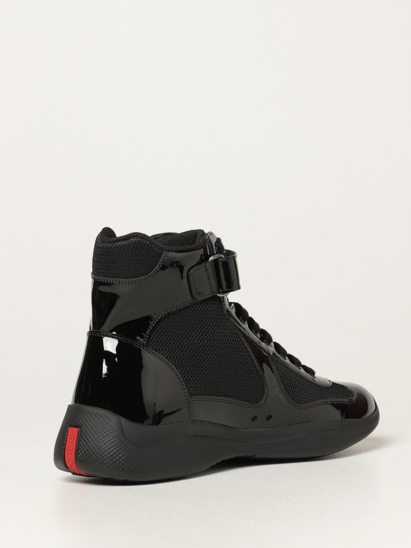 Sneakers Prada: Sneakers Prada in vernice e tessuto bike nero 3