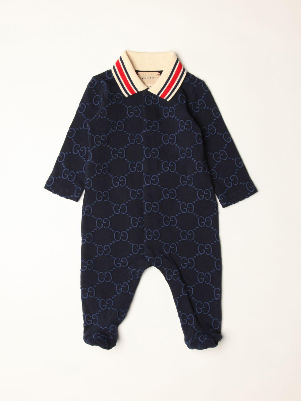 Tuta Gucci: Tutina con piede Gucci in cotone con logo all over blue 1
