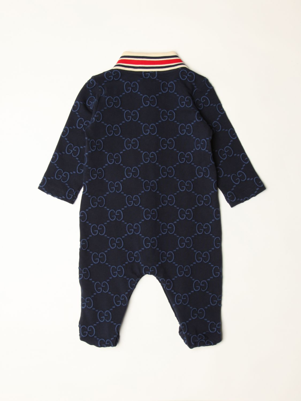 Tuta Gucci: Tutina con piede Gucci in cotone con logo all over blue 2