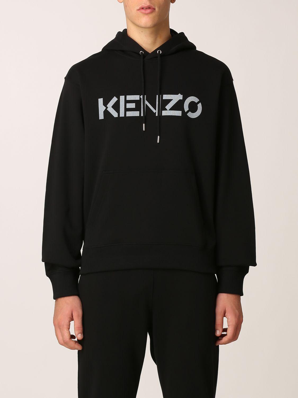 Felpa Kenzo: Felpa Kenzo con logo stampato nero 1
