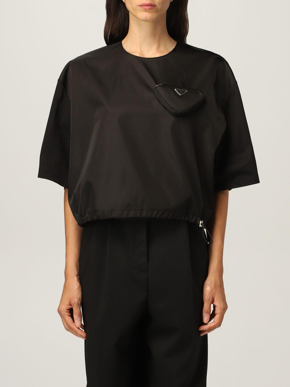 T-shirt Prada: T-shirt donna Prada in cotone e re-nylon con pouch e logo nero 1
