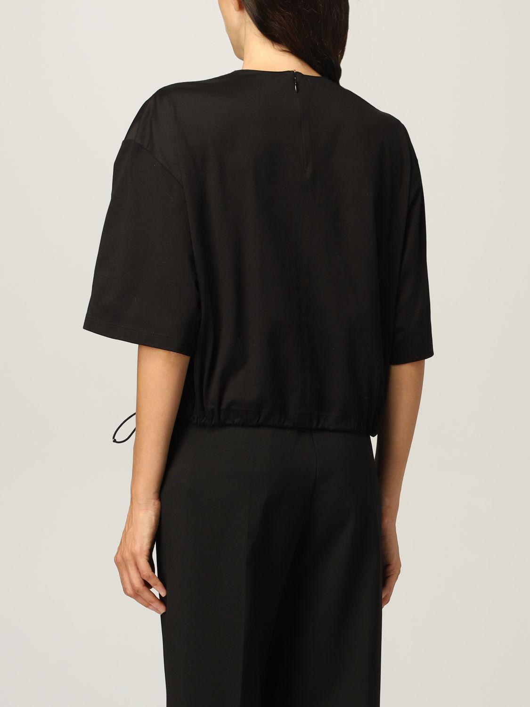 T-shirt Prada: T-shirt donna Prada in cotone e re-nylon con pouch e logo nero 3