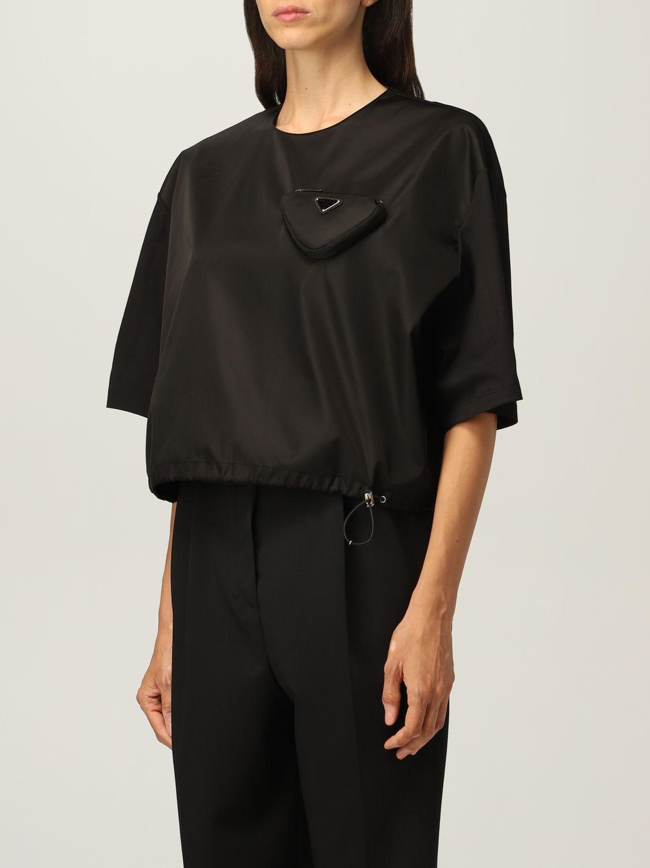 T-shirt Prada: T-shirt donna Prada in cotone e re-nylon con pouch e logo nero 4