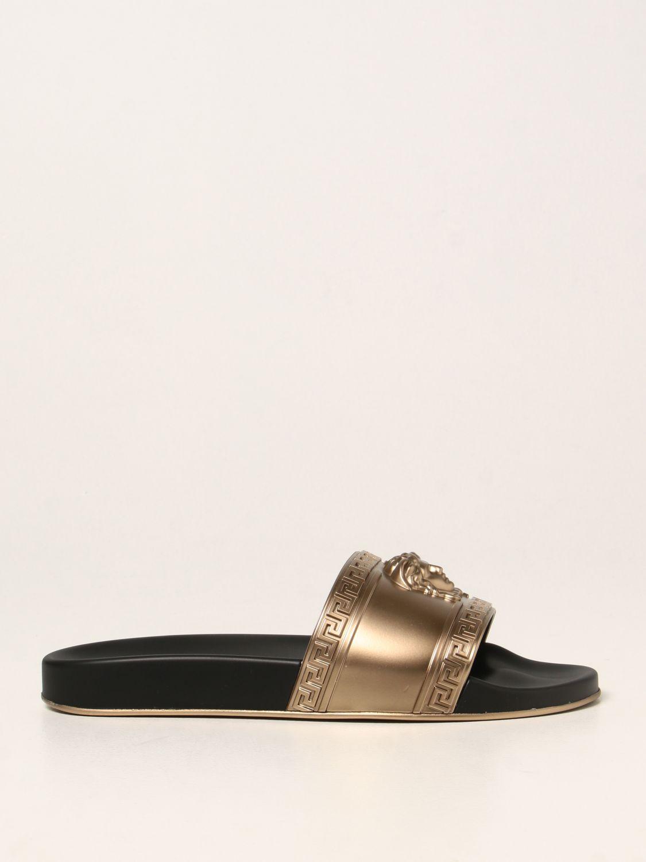 Sandali Versace: Sandalo Palazzo Versace in gomma con testa di Medusa oro 1