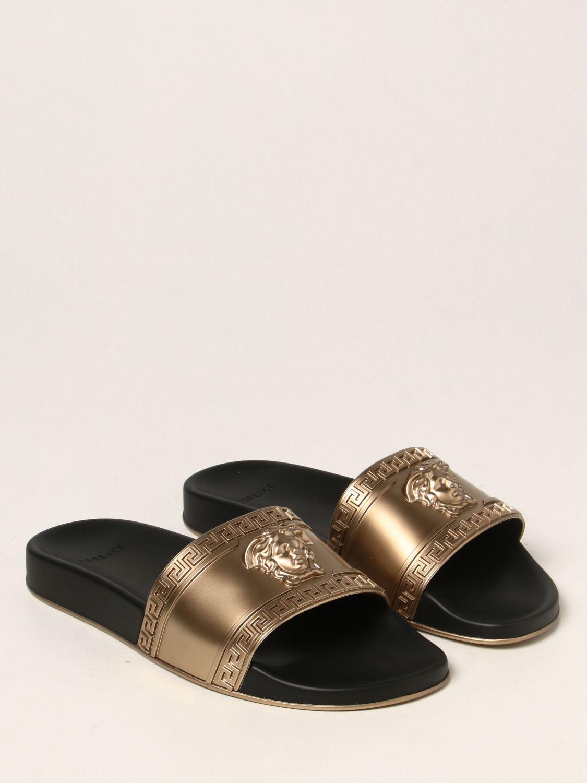 Sandali Versace: Sandalo Palazzo Versace in gomma con testa di Medusa oro 2