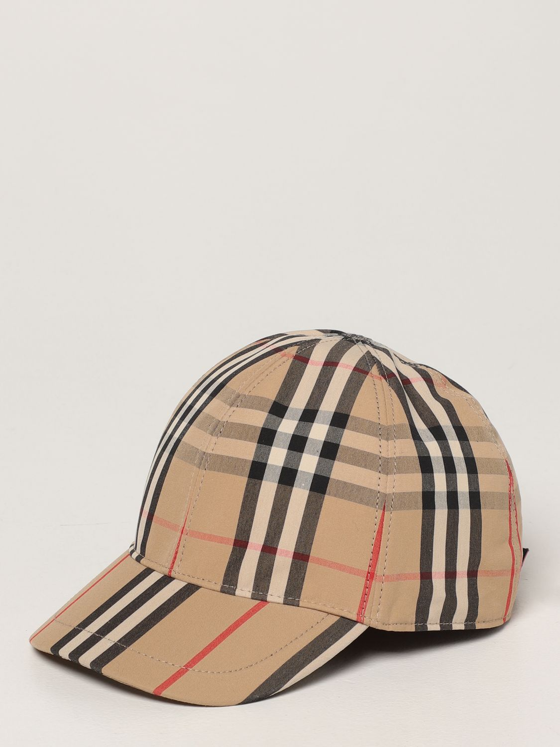 Hat Burberry: Burberry baseball cap in check cotton beige 1