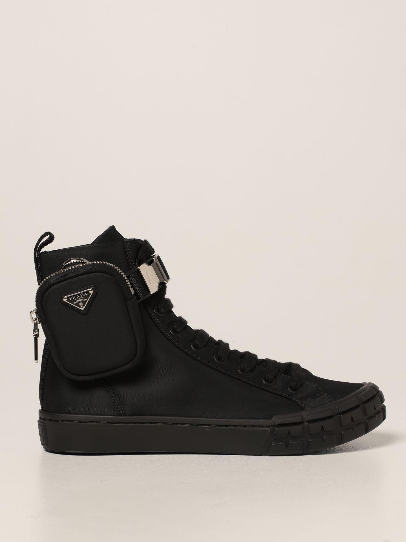 Sneakers Prada: Sneakers a polacco Wheel Prada in gabardine Re-Nylon nero 1