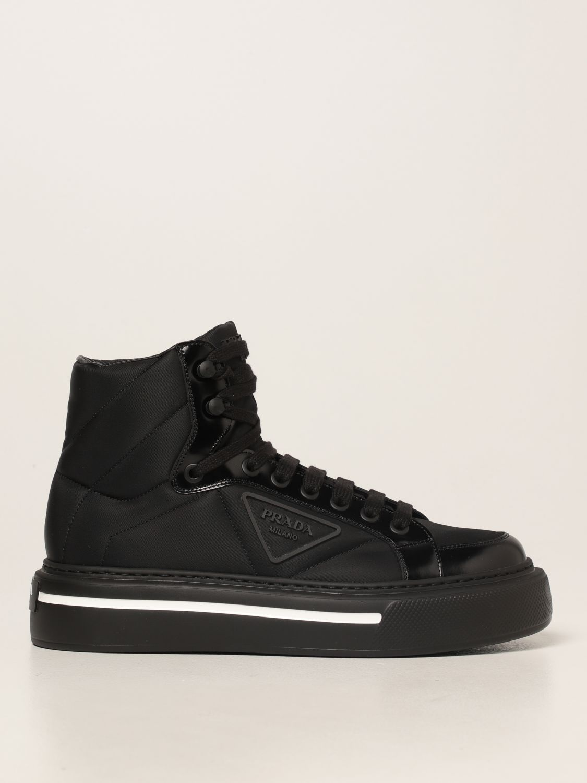 Sneakers Prada: Sneakers Prada in pelle spazzolata e Re-nylon nero 1