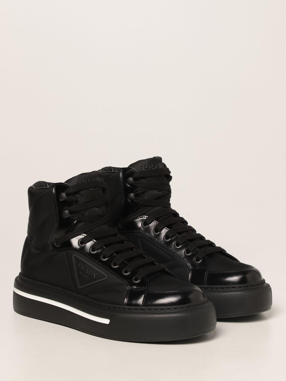 Sneakers Prada: Sneakers Prada in pelle spazzolata e Re-nylon nero 2