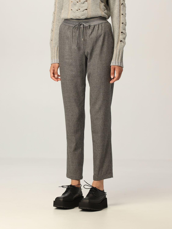 Pantalone Lorena Antoniazzi: Pantalone jogging Lorena Antoniazzi in lana grigio 4