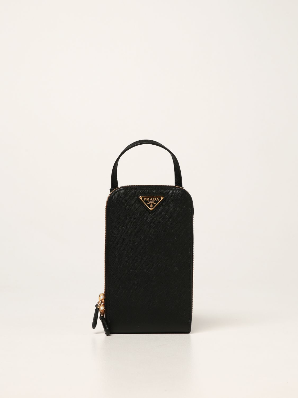 Borsa mini Prada: Borsa mini Prada in pelle saffiano con logo nero 1