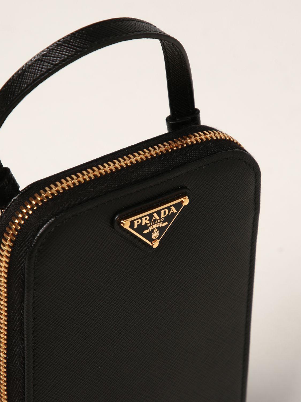 Borsa mini Prada: Borsa mini Prada in pelle saffiano con logo nero 4
