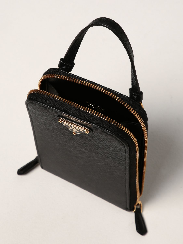 Borsa mini Prada: Borsa mini Prada in pelle saffiano con logo nero 5