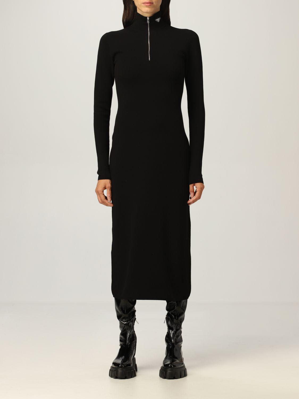 Abito Prada: Abito dolcevita Prada in misto lana stretch con zip nero 1