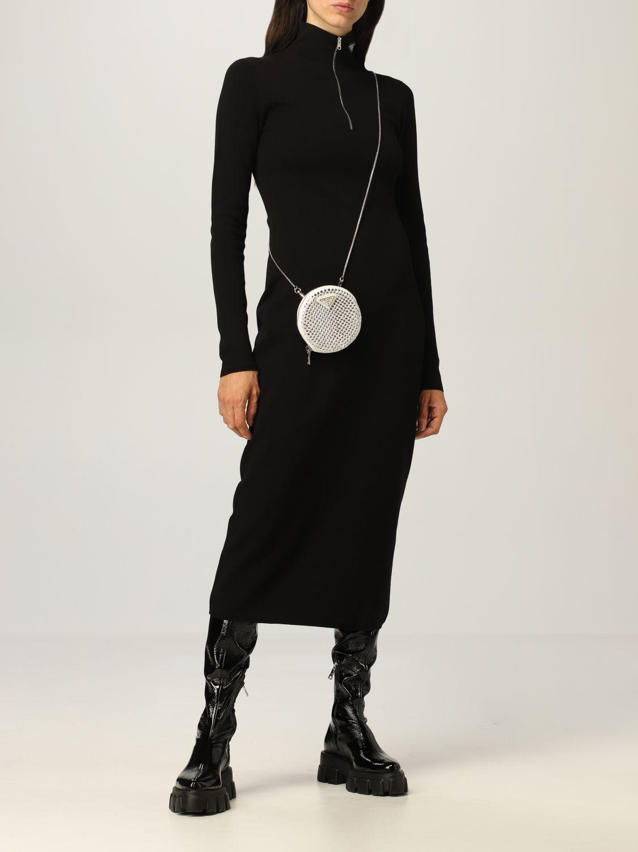 Abito Prada: Abito dolcevita Prada in misto lana stretch con zip nero 2