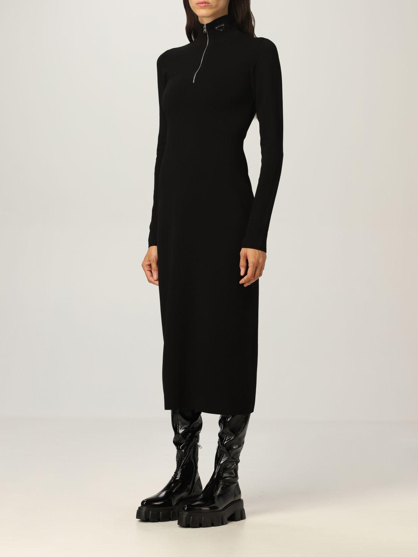 Abito Prada: Abito dolcevita Prada in misto lana stretch con zip nero 4