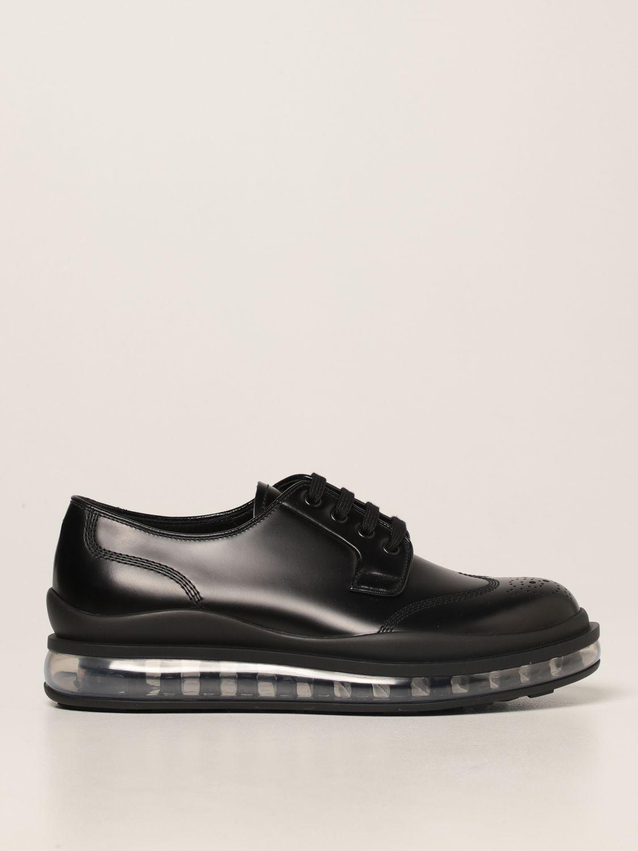 Scarpe stringate Prada: Sneakers Prada in pelle spazzolata nero 1