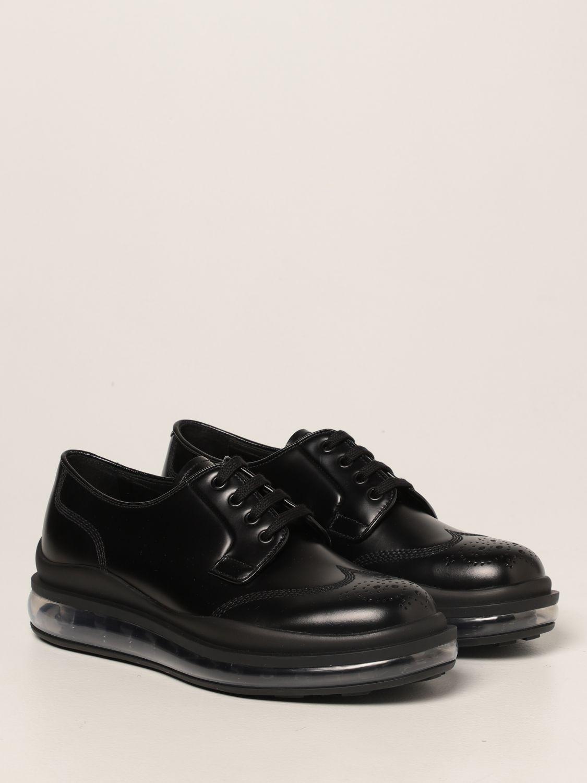 Scarpe stringate Prada: Sneakers Prada in pelle spazzolata nero 2
