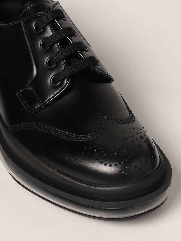 Scarpe stringate Prada: Sneakers Prada in pelle spazzolata nero 4