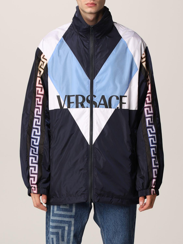 Giacca Versace: Giacca Versace in nylon con motivo Greca blue navy 1