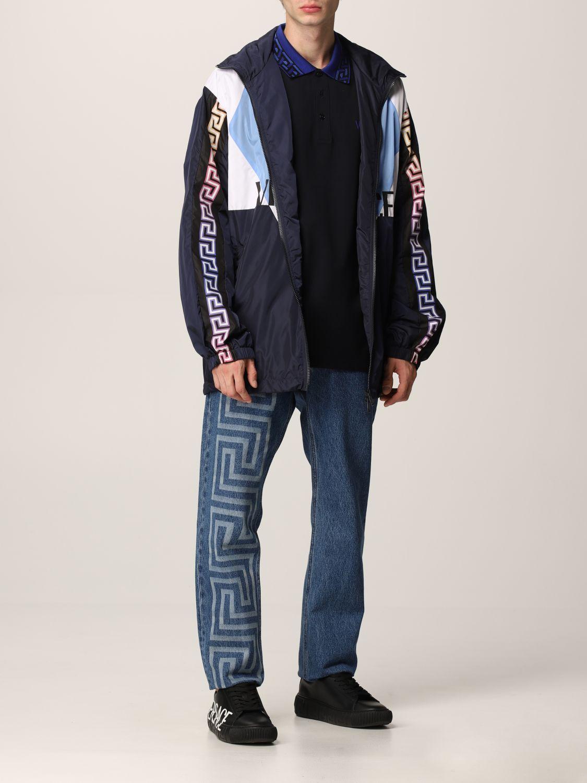 Giacca Versace: Giacca Versace in nylon con motivo Greca blue navy 2