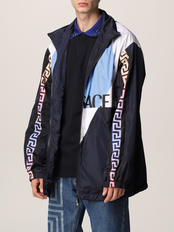 Giacca Versace: Giacca Versace in nylon con motivo Greca blue navy 4