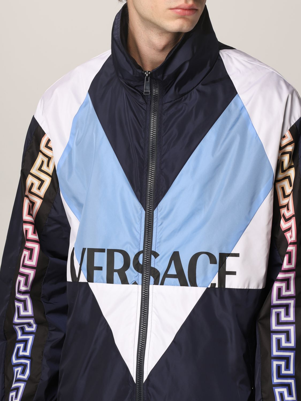 Giacca Versace: Giacca Versace in nylon con motivo Greca blue navy 5