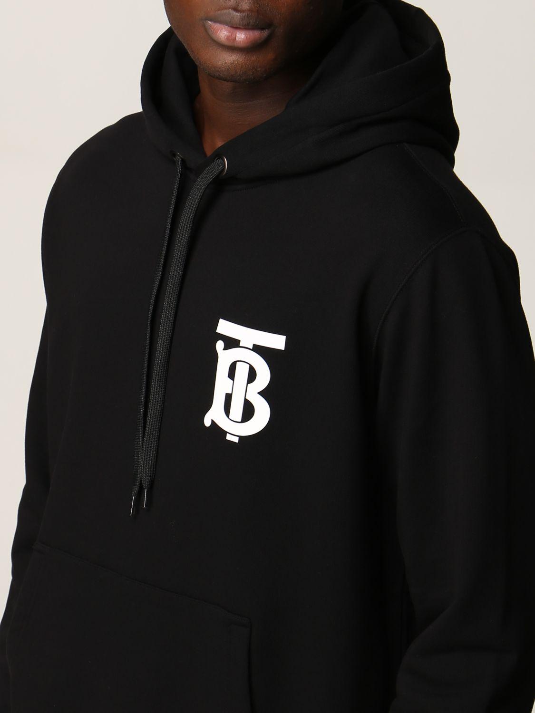 Felpa Burberry: Felpa Burberry in cotone con logo TB nero 5