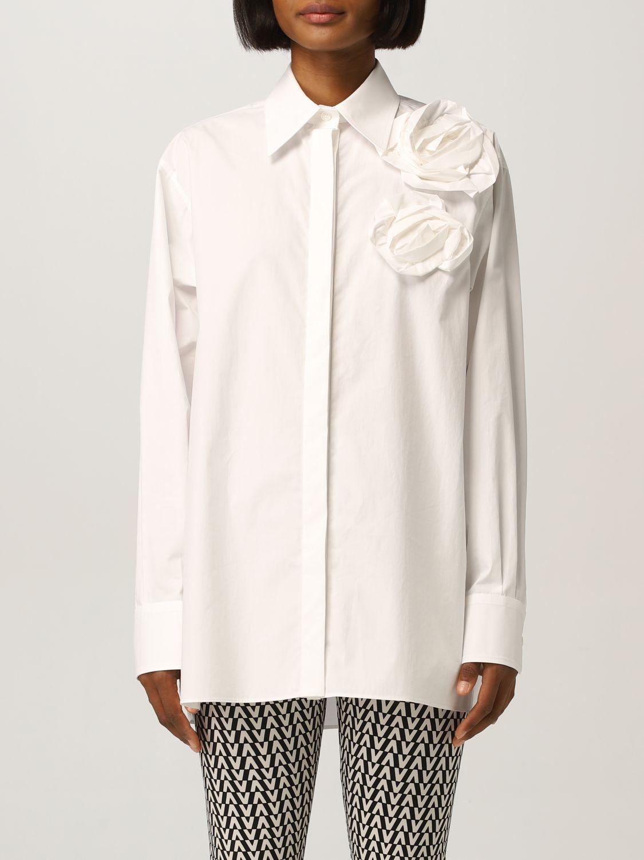 Camicia Valentino: Camicia Valentino con applicazioni floreale bianco 1