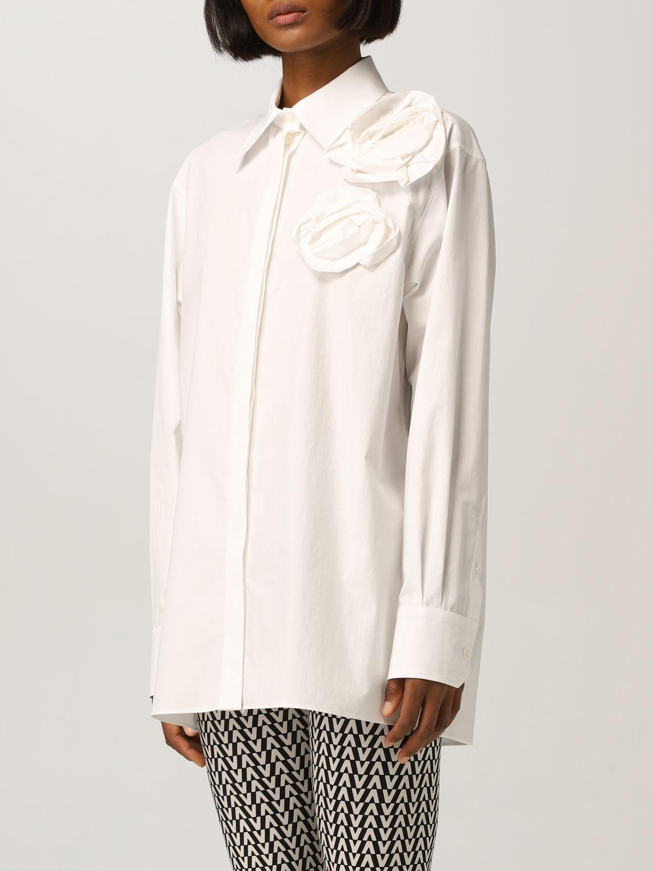 Camicia Valentino: Camicia Valentino con applicazioni floreale bianco 4