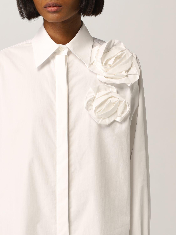 Camicia Valentino: Camicia Valentino con applicazioni floreale bianco 5