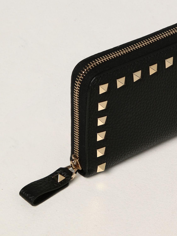 Portafoglio Valentino Garavani: Portafoglio Rockstud Valentino Garavani in pelle e borchie nero 4