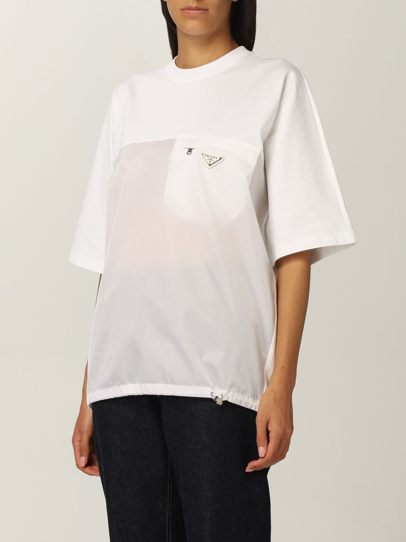 T-shirt Prada: T-shirt donna Prada bianco 4