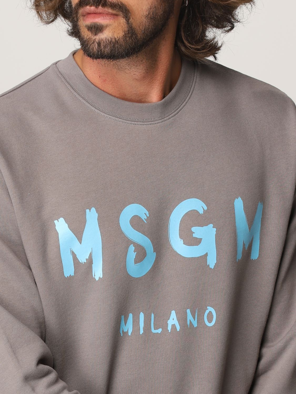 Felpa Msgm: Felpa Msgm con logo grigio 5