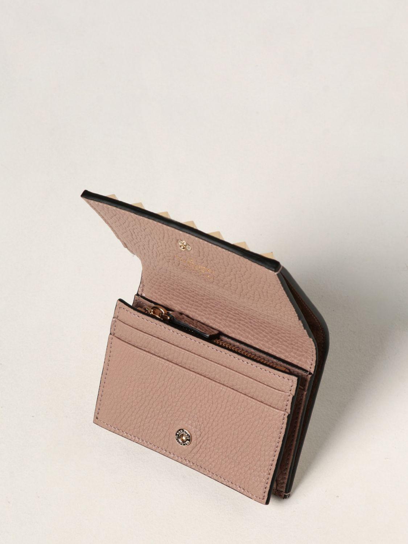 Portafoglio Valentino Garavani: Portafoglio Rockstud Valentino Garavani in pelle con borchie cipria 2