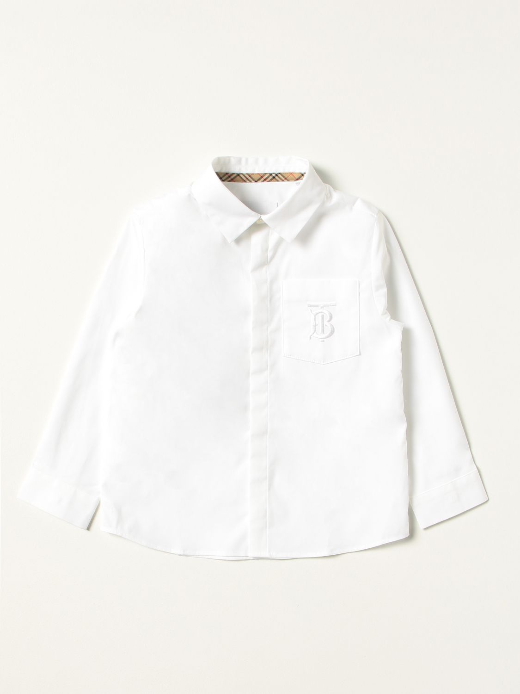Shirt Burberry: Burberry shirt in stretch cotton poplin with monogram white 1