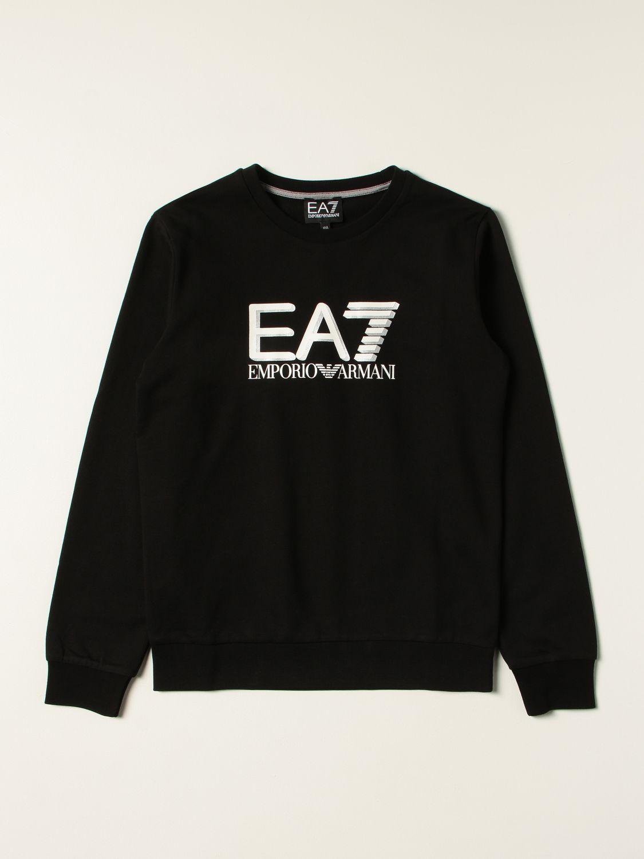 Maglia Ea7: Felpa EA7 in cotone con logo glitter a contrasto nero 1