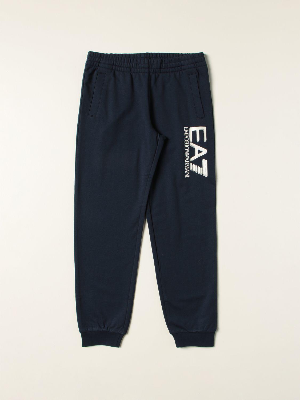 Pantalone Ea7: Pantalone jogging EA7 in cotone con logo blue navy 1