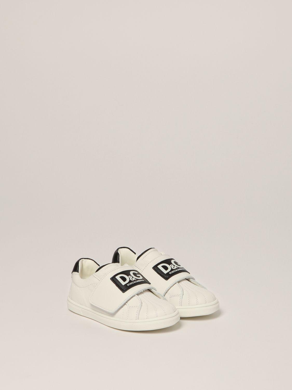 Scarpe Dolce & Gabbana: Sneakers Dolce & Gabbana in pelle con logo bianco 2