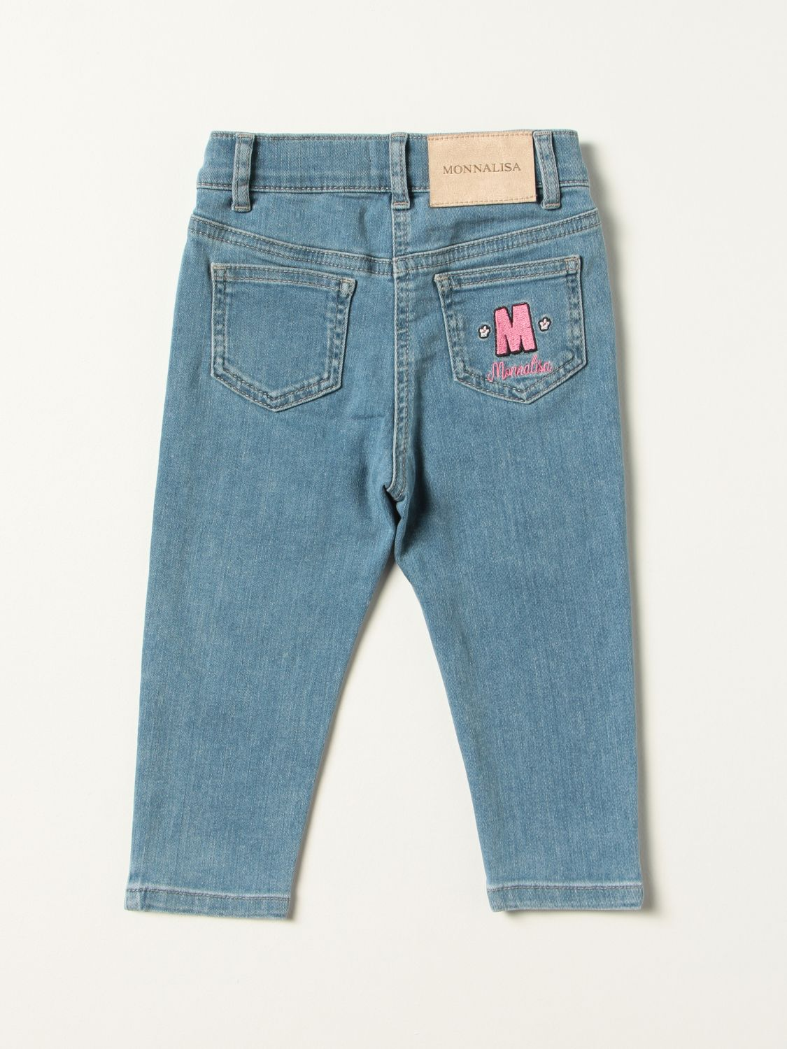 Jeans Monnalisa: Monnalisa power-puff-girl jeans with embroidery denim 2