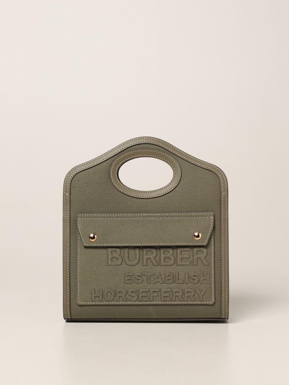 Borsa a mano Burberry: Borsa Pocket Burberry in tela e pelle verde 1