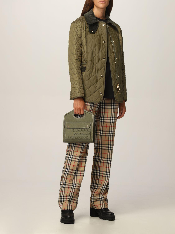Borsa a mano Burberry: Borsa Pocket Burberry in tela e pelle verde 2
