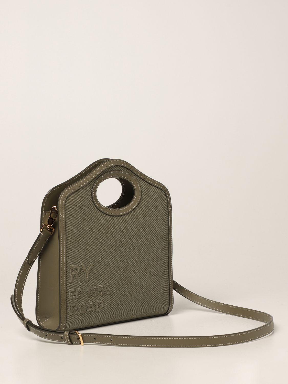 Borsa a mano Burberry: Borsa Pocket Burberry in tela e pelle verde 3