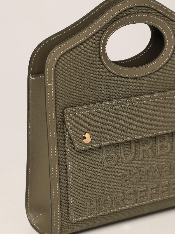 Borsa a mano Burberry: Borsa Pocket Burberry in tela e pelle verde 4